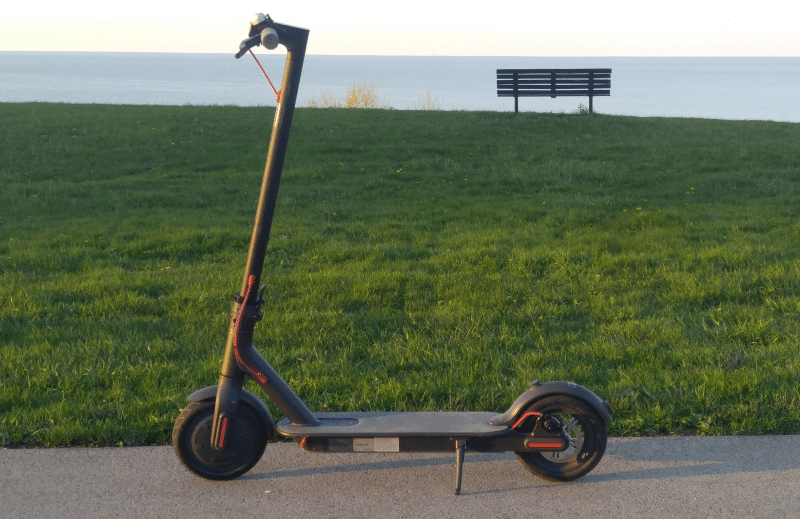 mi electric scooter at park